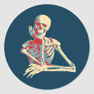 retro skeleton round sticker