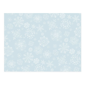 Retro Sketch Frozen Snowflakes on Ice Blue Postcard