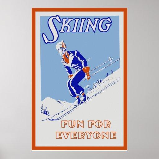 Retro skiing fun for everyone medium poster