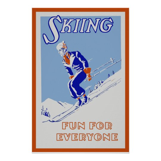 Retro skiing fun for everyone medium poster