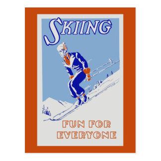 Retro skiing fun for everyone postcard