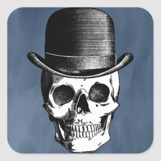 Retro Skull Head Square Sticker