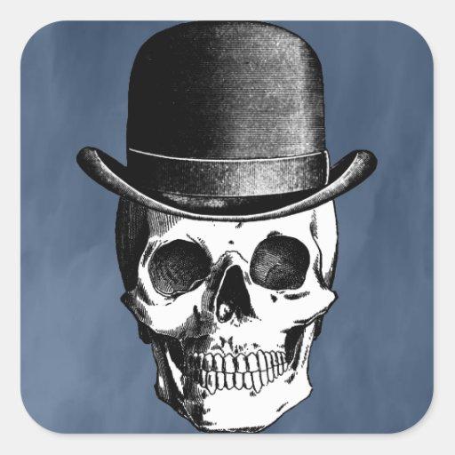 Retro Skull Head Square Stickers