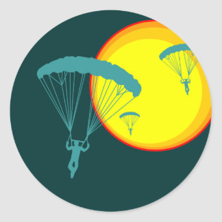 retro sky divers round stickers