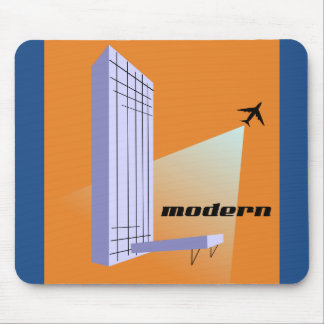 Retro Skyscraper and Airplane Mouse Mat