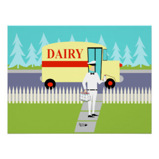 Retro Small Town Milk Man Poster