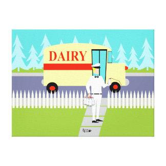 Retro Small Town Milkman Stretched Canvas Print