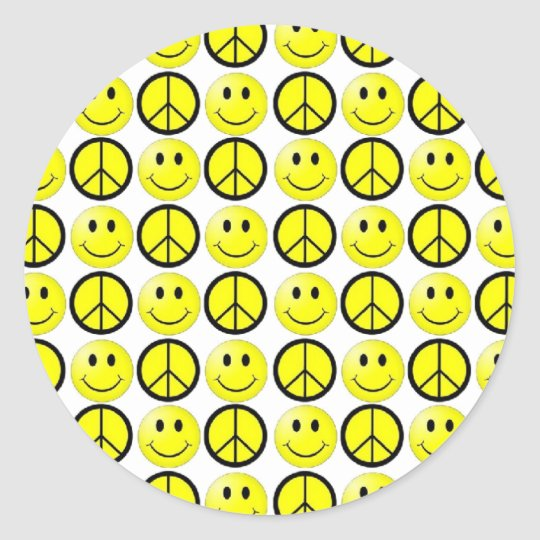 Retro Smiley Peace Classic Round Sticker