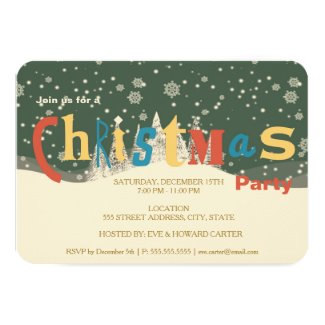 Retro Snow Flakes and Trees | Christmas Party Card