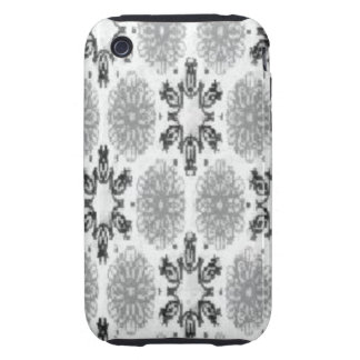 Retro Snowflake Floral Black and White iPhone 3 Tough Cover