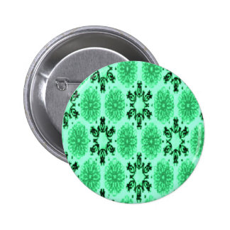Retro Snowflake Floral Green 6 Cm Round Badge