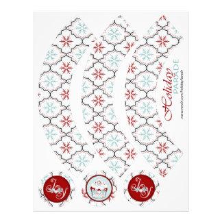Retro Snowflakes Cupcake Wrapper Custom Flyer