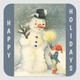 Retro Snowman and Elf Christmas Square Sticker