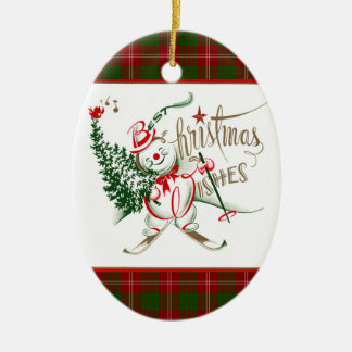 Retro Snowman Christmas Ornament