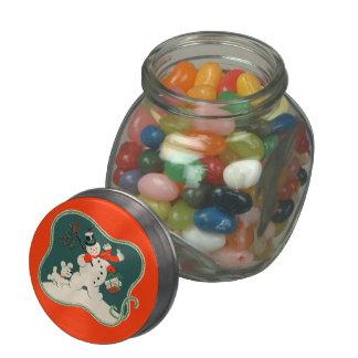 Retro Snowman Glass Jar