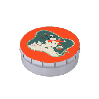 Retro Snowman Candy Tin