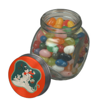 Retro Snowman Glass Jar