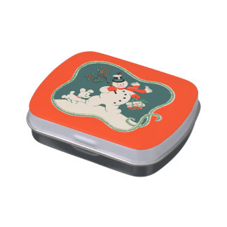 Retro Snowman Candy Tins