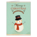 Retro Snowmen Happy New Year Merry Christmas Cards
