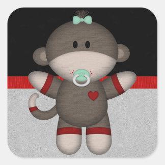 Retro Sock Monkey Baby Sticker