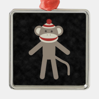 Retro Sock Monkey Christmas Ornament