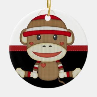 Retro Sock Monkey Christmas Ornament