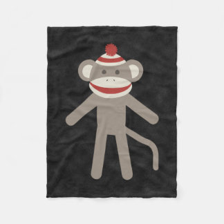 Retro Sock Monkey Fleece Blanket
