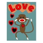 Retro sock monkey LOVE Postcards