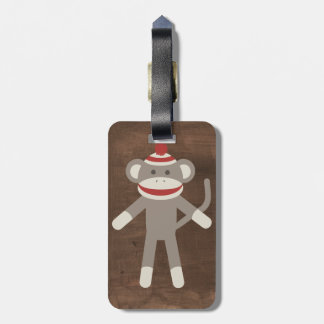 Retro Sock Monkey Luggage Tag