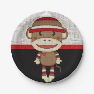 Retro Sock Monkey Paper Plate  sc 1 st  Zazzle & Monkey Plates | Zazzle.co.uk