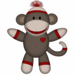 Retro Sock Monkey Photo Sculpture Magnet
