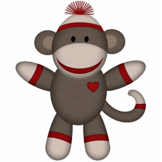 Retro Sock Monkey Photo Sculpture Magnet
