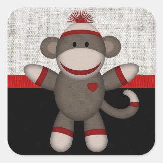 Retro Sock Monkey Square Sticker