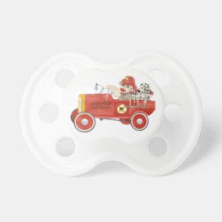 Retro Sock Monkey w Fire Engine Baby Boy Gifts Dummy