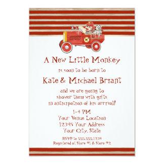 "Retro Sock Monkey w Fire Engine Baby Boy Gifts 5"" X 7"" Invitation Card"