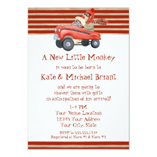 Retro Sock Monkey w Pedal Car Baby Boy Gifts 13 Cm X 18 Cm Invitation Card