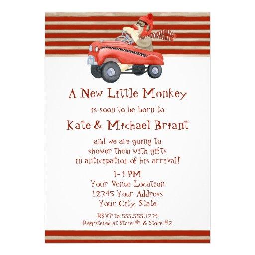 Retro Sock Monkey w Pedal Car Baby Boy Gifts Invitation