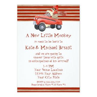 """Retro Sock Monkey w Pedal Car Baby Boy Gifts 5"""" X 7"""" Invitation Card"""