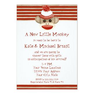 Retro Sock Monkey w Stocking Cap Baby Boy Shower 13 Cm X 18 Cm Invitation Card