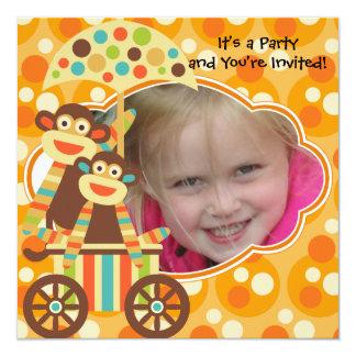Retro Sock Monkeys Photo Birthday Invitation