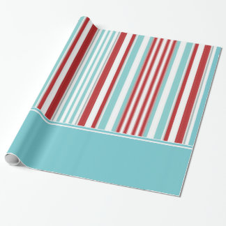 Retro Solid Aqua w/ Red, White, Aqua Blue Stripes Wrapping Paper