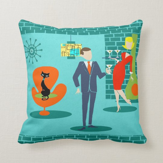 Retro Space Age Cartoon Couple Throw Pillow