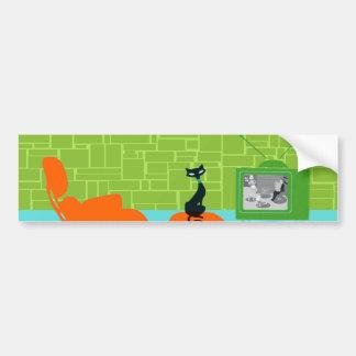 Retro Space Age Kitty Bumper Sticker Car Bumper Sticker