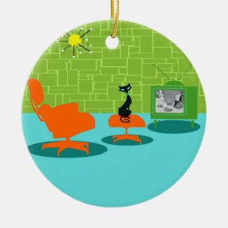 Retro Space Age Kitty Christmas Ornament