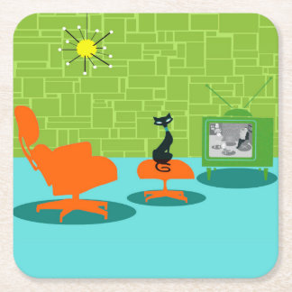 Retro Space Age Kitty Paper Coaster