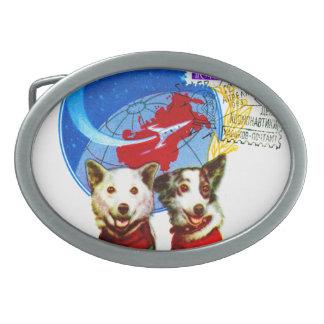 RETRO SPACE AGE (USSR ASTRONAUT DOGS DESIGN) BELT BUCKLES