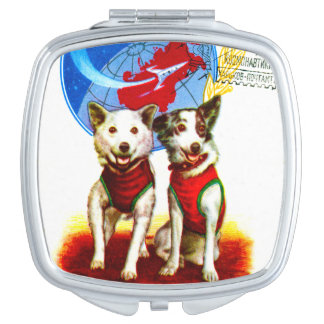 RETRO SPACE AGE (VINTAGE DOG ASTRONAUTS) COMPACT MIRRORS