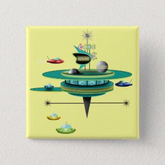 Retro Space Diner 15 Cm Square Badge