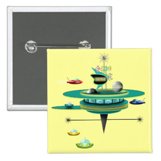 Retro Space Diner 15 Cm Square Badge