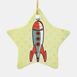 retro space rocket christmas ornament